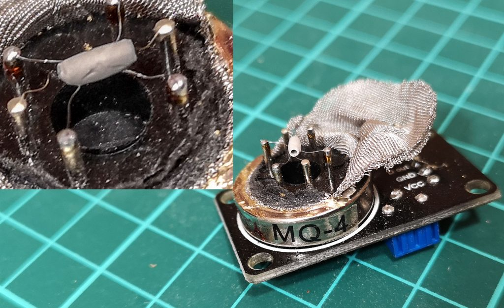 датчик, газ, Mq, mq4, mq-4, спиралька