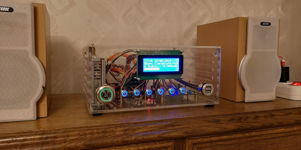 rasp-i-radio, raspberry, display, радио, интернет радио, кнопки светящеся, колонки BBK