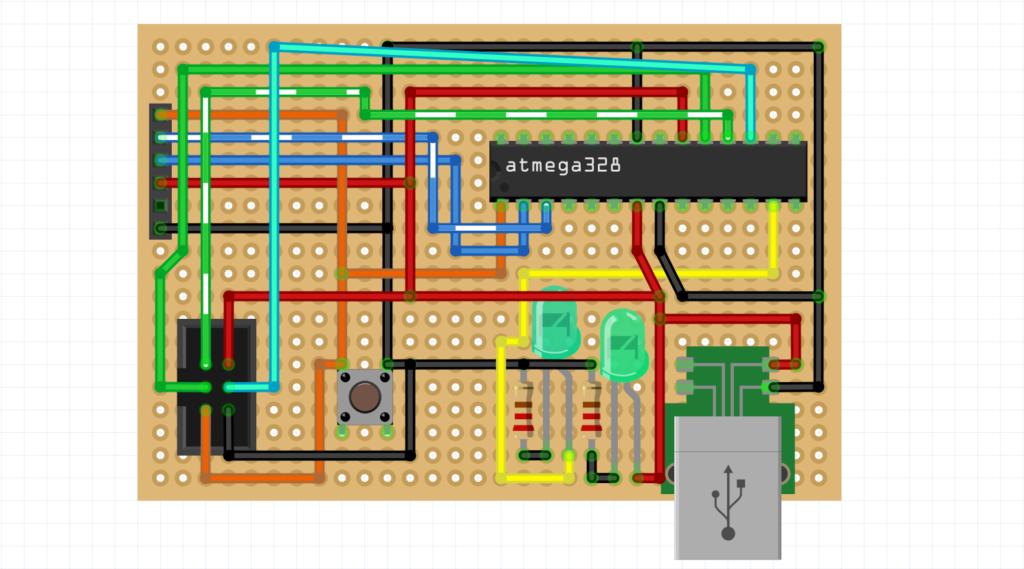 atmega328, usb, схема, плата, светодиод, тактовая кнопка, разводка, панелька
