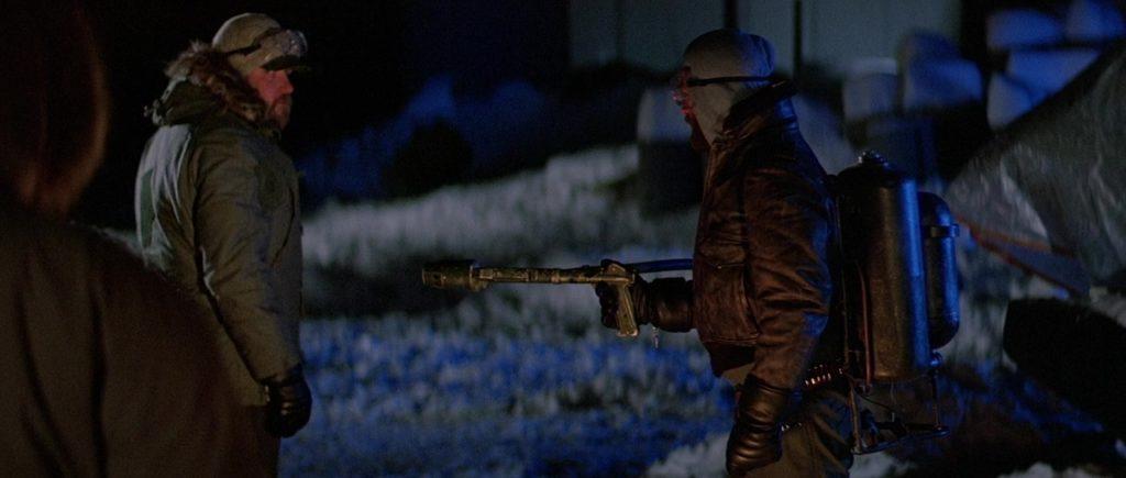 "Кадр из х/ф ""Нечто"" (1982), огнемет, снег, аляска"