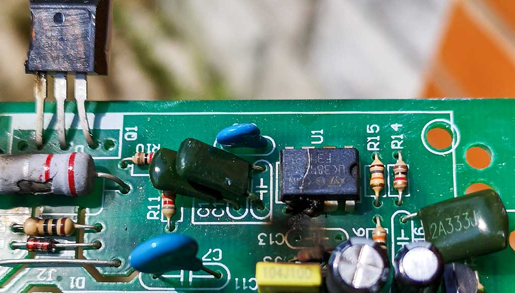 плата, ибп, микросхема, сгорела, треснула, шим-контроллер
