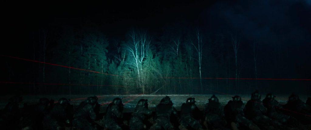 "Кадр из к/ф ""Аванпост"". Военные выцеливают опушку леса."