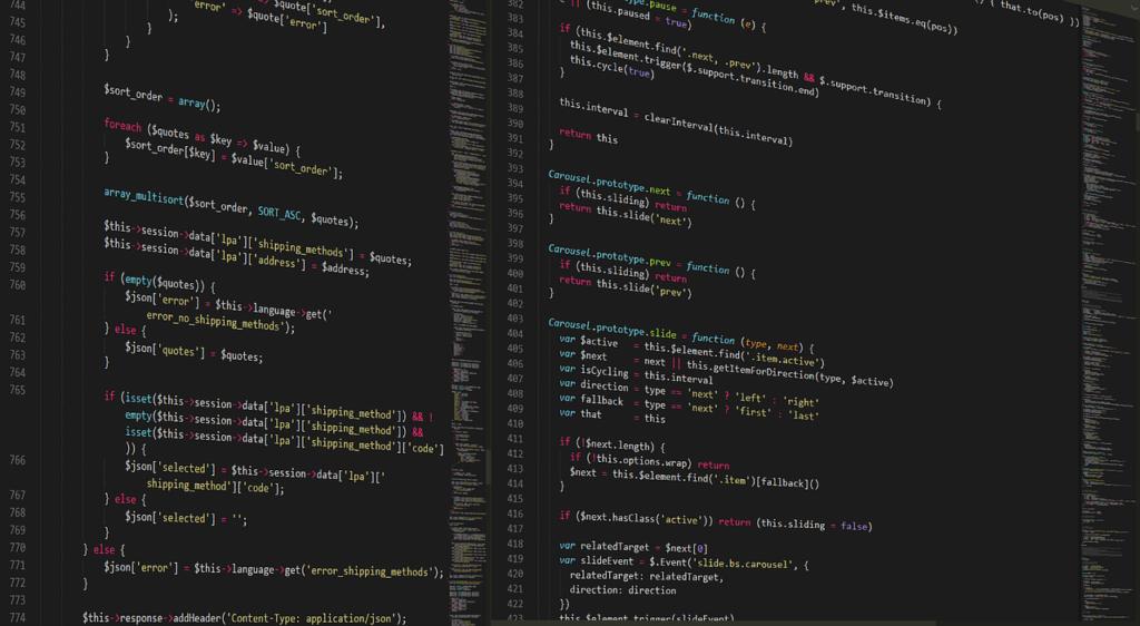 кусочек кода в редакторе