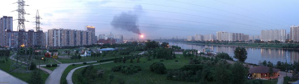 Марьинский парк, парк, дорожки, москва река, загрязнение воздуха, факел, 2005, НПЗ, капотня