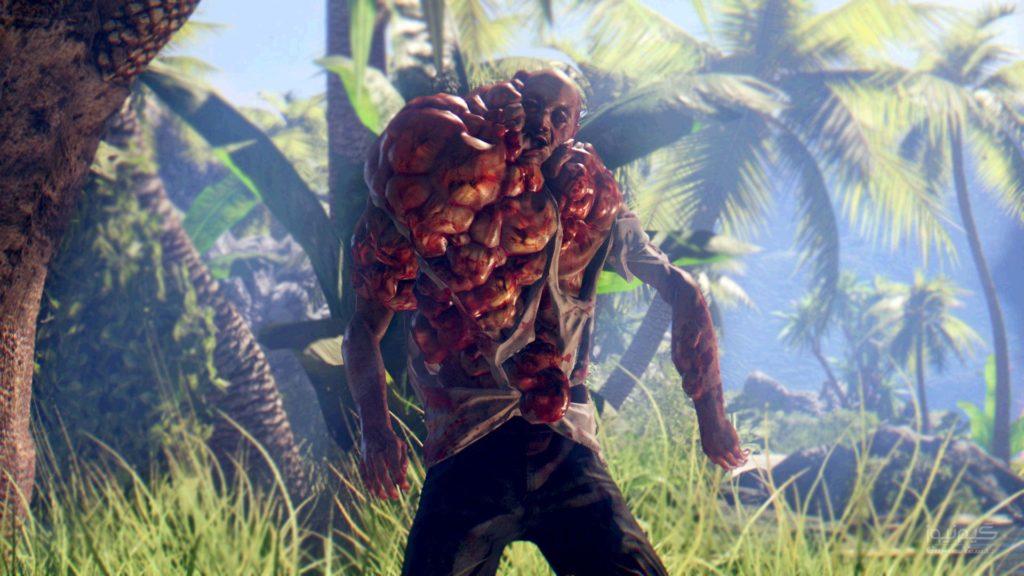 пупырчатый зомбак, пальмы, трава