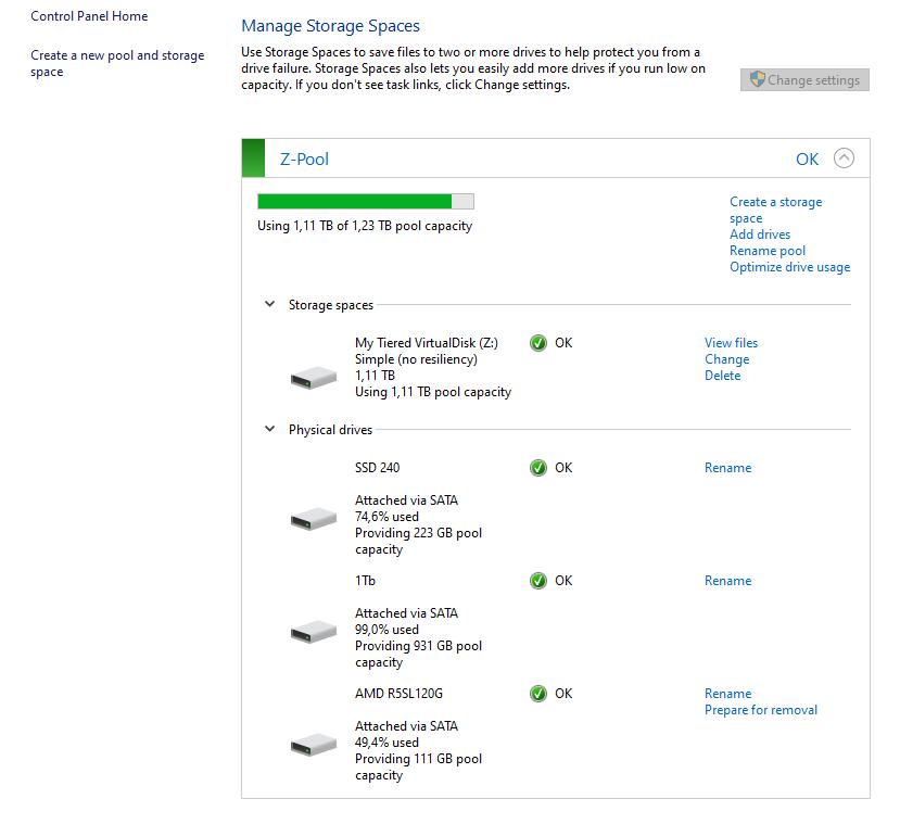 storage spaces, disk optimization