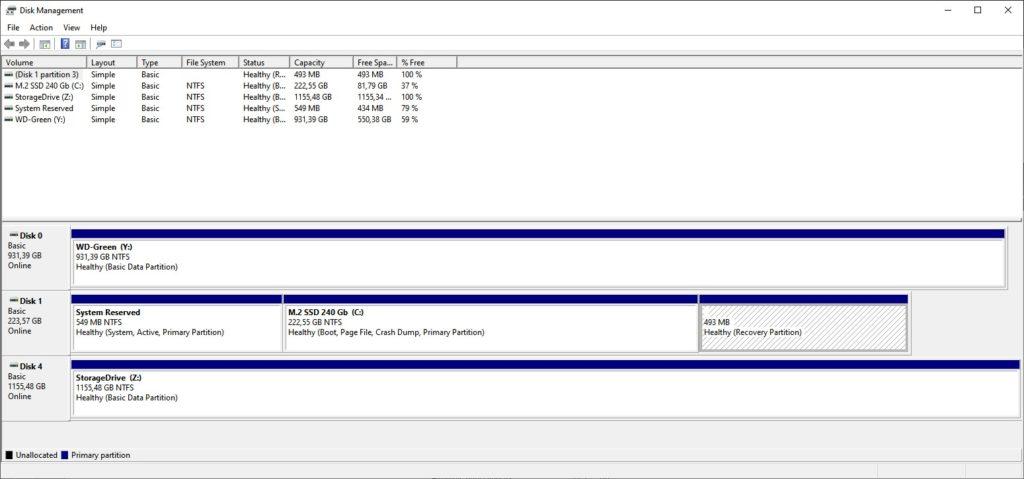 disk management, storage spaces